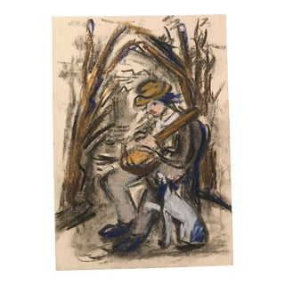 1940s Man With Guitar and Dog in Landscape Drawing For Sale