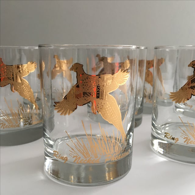 Ring Necked Pheasant Vintage Cocktail Glasses - 8 - Image 3 of 7