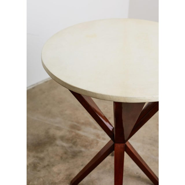 Art Deco Art Deco Style Mahogany and Goatskin Vellum Drinks Table For Sale - Image 3 of 13