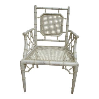 Vintage French Regency Faux Bamboo Cane Lounge Armchair