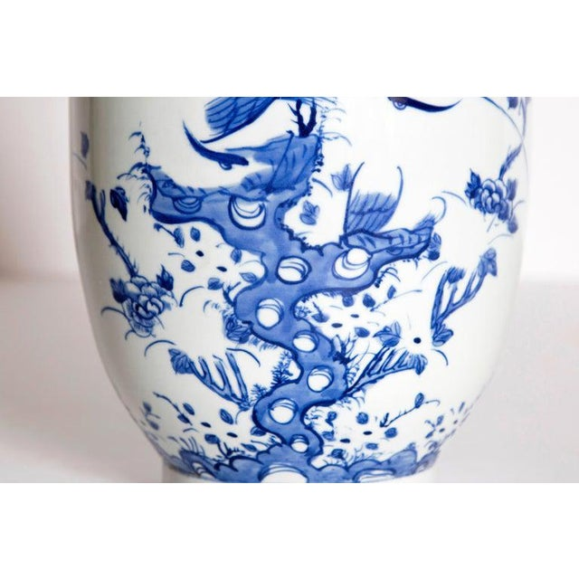 Ceramic 19th Century Chinese Blue and White Qing Period Vase With Foo Dog Heads For Sale - Image 7 of 13