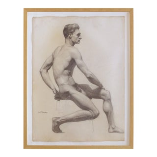 Carl T. Pfeufer Male Nude Study Pencil Drawing Signed For Sale