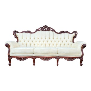 Vintage Baroque Victorian Carved Wood Sofa For Sale