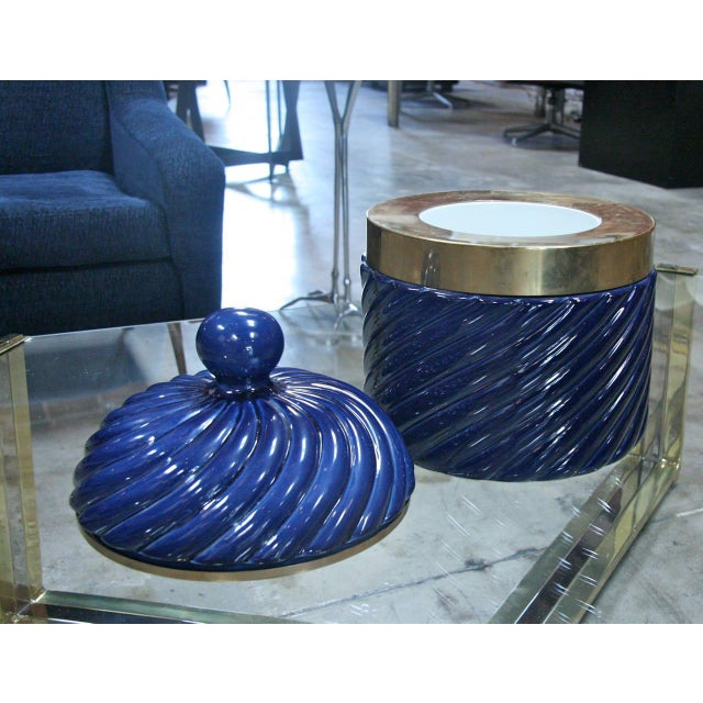 Ice Bucket in Blue Ceramic and Brass by Tommaso Barbi For Sale In Los Angeles - Image 6 of 8