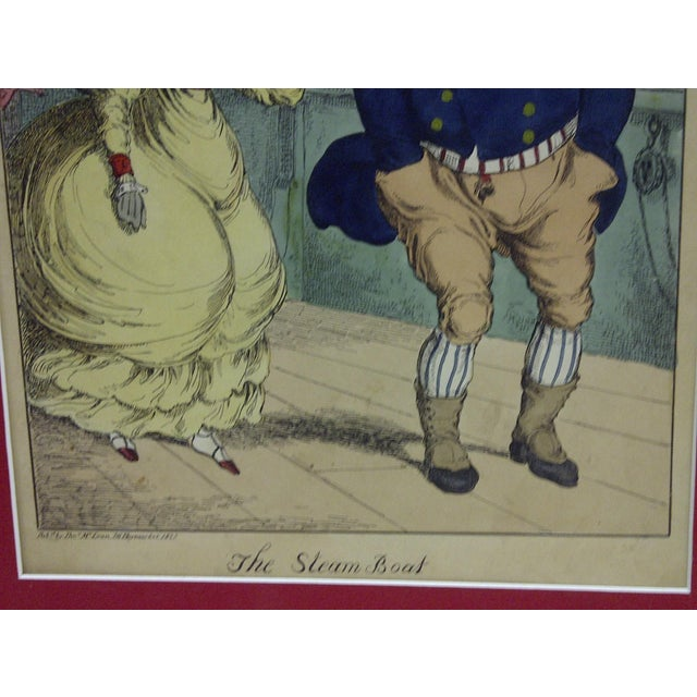"""""""The Steam Boat"""" Hand Colored Print For Sale - Image 5 of 6"""