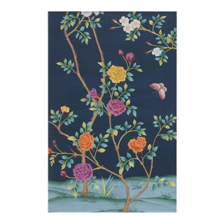 Rose Garden Hand Painted Chinoiserie Panel For Sale