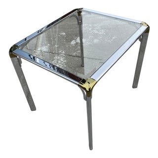 Mid-Century Modern Chrome Brass and Glass Waterfall Table John Widdicomb for Mastercraft Manner For Sale