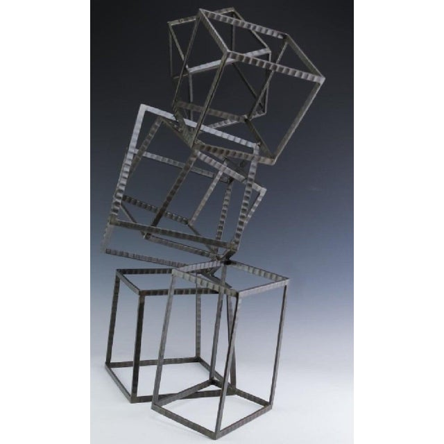 Metal Modern Forged Iron & Travertine Quadrilaterals Sculpture For Sale - Image 7 of 11