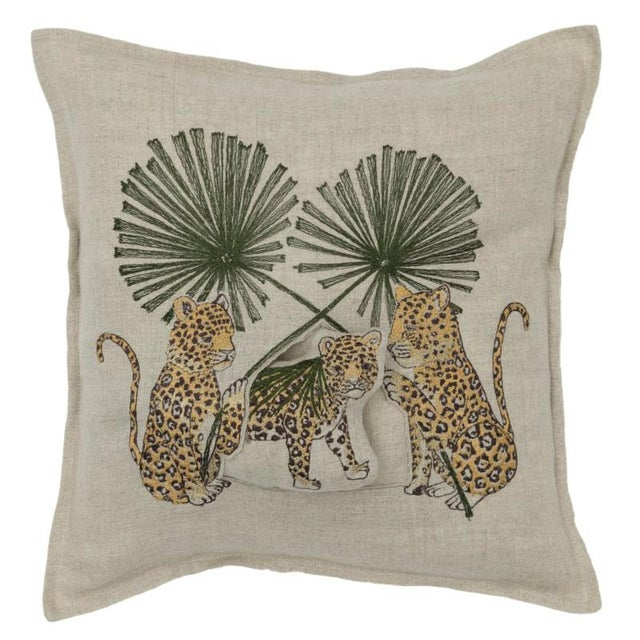 2010s Jaguar Palm Pocket Pillow For Sale - Image 5 of 5