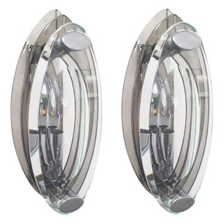 1960s Vintage Oval Shaped Beveled Sconces by Cristal Arte - a Pair For Sale