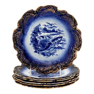 Antique Flow Blue Salmon Plates, Set of 6 For Sale