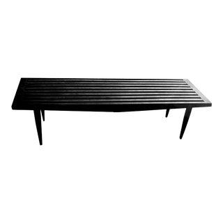 Vintage Black Slat Peg Legged Outdoor Wooden Bench For Sale