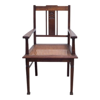 Early 20th c.Glasgow Style Arts and Crafts Caned Oak Arm Chair. C.1900 For Sale