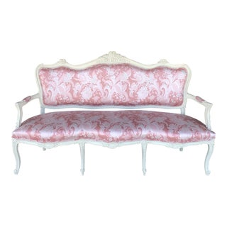 Antique French Sofa in Pink Scalamandre Chintz For Sale