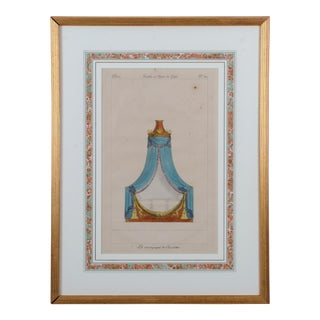 """1810s French Empire Bed """"Muebles Et Objets De Gout"""" Engraving Print For Sale"""