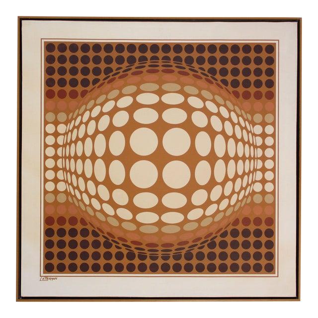 Letterman Oil on Canvas Geometric Op Art For Sale