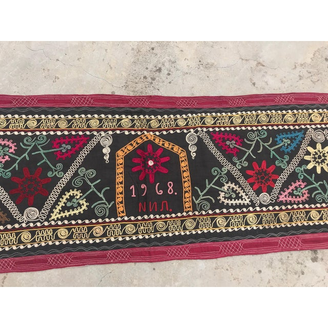OLD Black Suzani Wall Hanging - Suzani Table Runner - LONG Suzani Fabric for Boho Decor * size 12.2 FT x 1.2 FT (372 CM x...