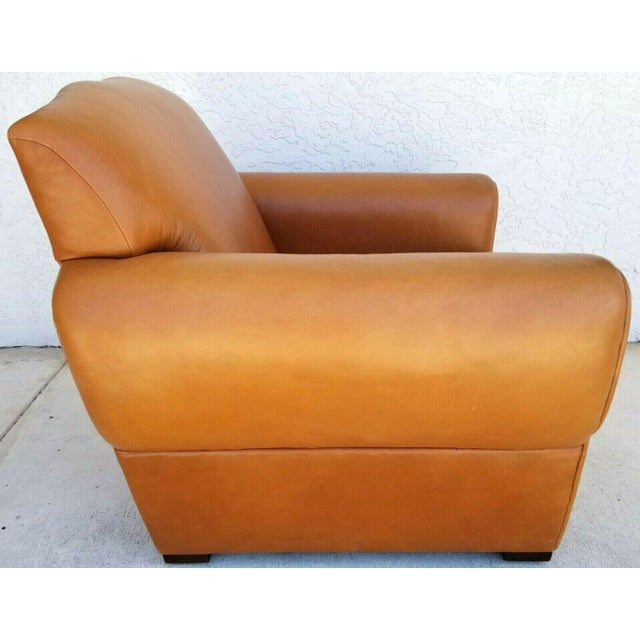 Classic mid century modern Ralph Lauren genuine leather club lounge armchair. Approximate Measurements in Inches Chair:...