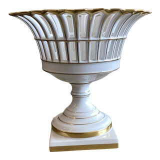 Large Reticulated Porcelain Compote For Sale