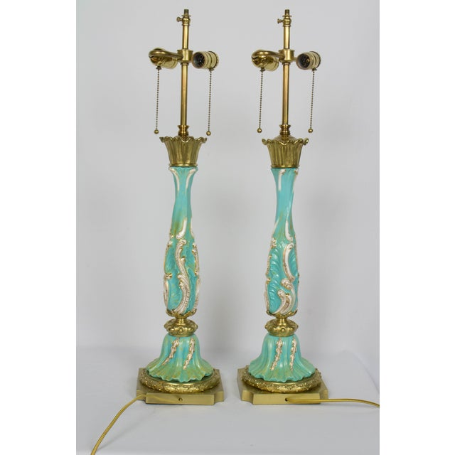 Bronze Late 19th Century Turquoise Rococo Table Lamps - a Pair For Sale - Image 7 of 11