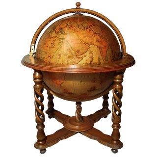 Italian Fruitwood Globe Bar For Sale