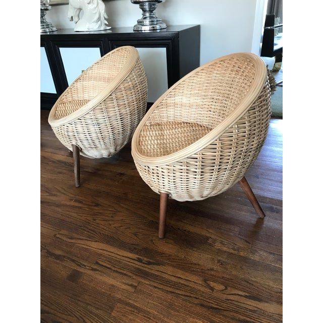 Rattan Barrel Tub Chairs Danish Modern Style With Wood Legs - Pair - Image 4 of 13