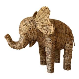 Vintage Boho Chic Elephant Seagrass Figurine For Sale
