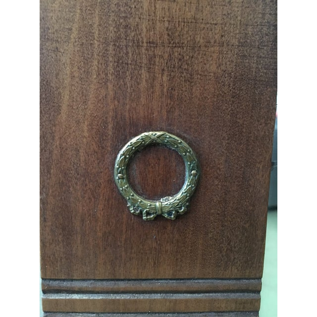 Metal Antique Arts & Crafts Carved Oak and Bronze Mirror, Circa 1920 For Sale - Image 7 of 9
