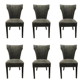 Dark Gray Distressed Leather Dining Chairs Set of Six For Sale