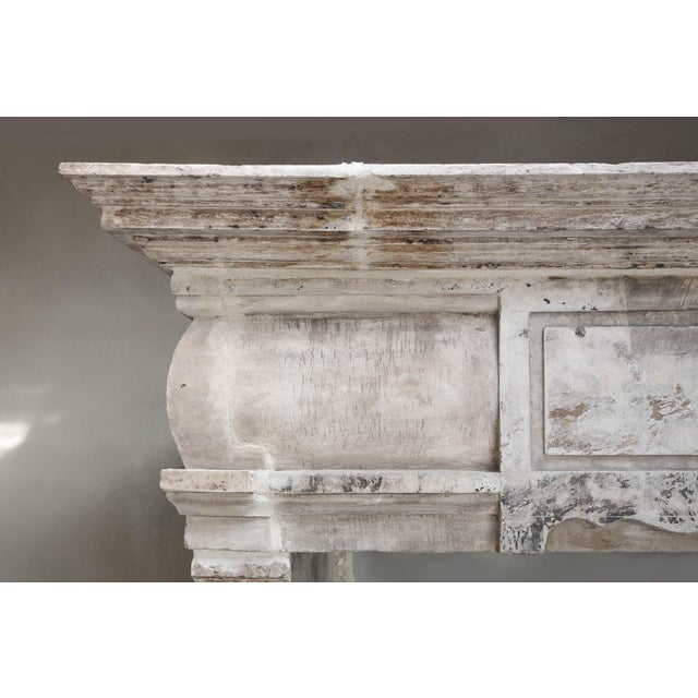 Limestone Antique Castle Fireplace of French Limestone, 18th Century, Louis XIII For Sale - Image 7 of 9