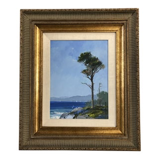 "1987 ""Pebble Beach Pine"" Plein Air California Landscape Oil Painting, Framed For Sale"
