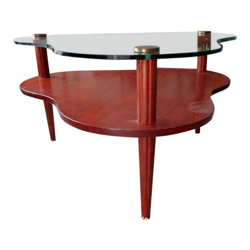 Mid Century Modern Gilbert Rohde Biomorphic Wood And Glass Coffee Table Chairish