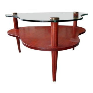 Mid-Century Modern Gilbert Rohde Biomorphic Wood and Glass Coffee Table For Sale