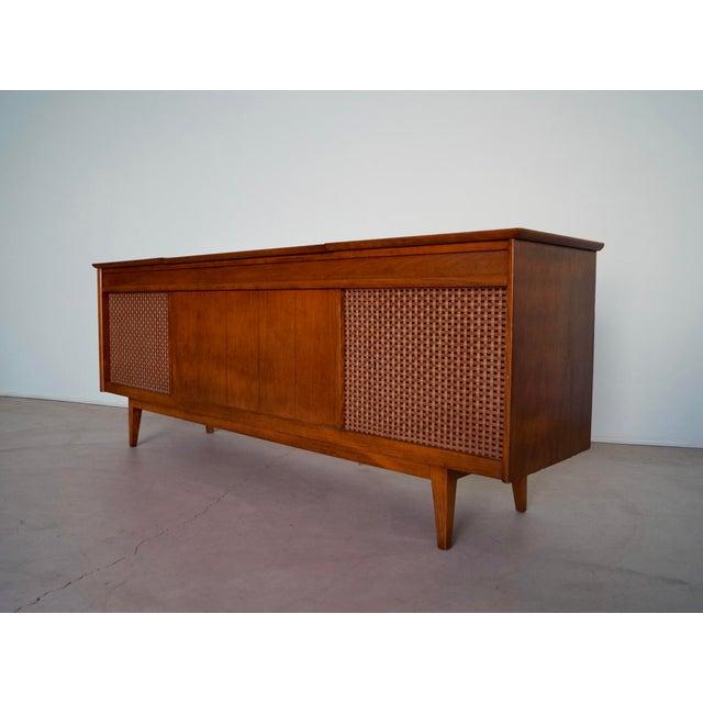 Danish Modern 1960s Danish Modern Silvertone Walnut Record Console For Sale - Image 3 of 13
