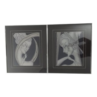 Deco Glamour First Edition Original Decograph Prints by Gustavo Kaitz- a Pair For Sale