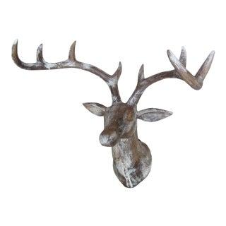 Hand Carved Wood Deer Head (Buck)