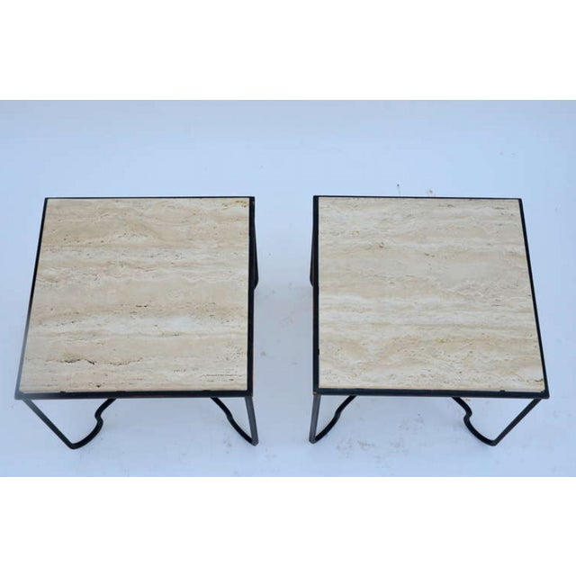 "2010s Contemporary ""Entretoise"" Wrought Iron and Travertine Tables - a Pair For Sale - Image 5 of 8"