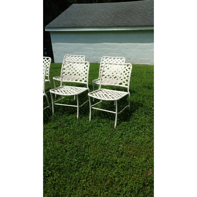 1960s Tropitone 70s Style of Brown and Jordan Cross Strap Patio Chairs - Set of 6 For Sale - Image 5 of 6