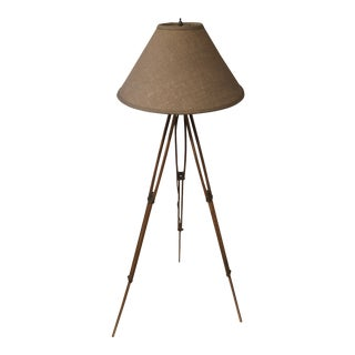 Antique Wooden Tripod Lamp With Burlap Shade For Sale