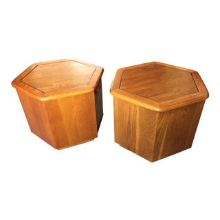 Mid-Century Modern Hexagon End Tables - a Pair For Sale