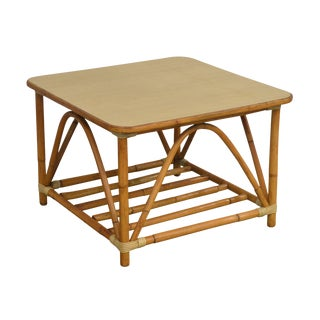 1950's Vintage Rattan Square Side or Coffee Table For Sale