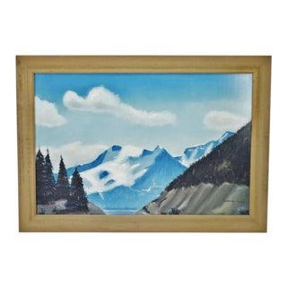 Vintage Rustic Framed Mountain Landscape Pastel Drawing - Artist Signed For Sale