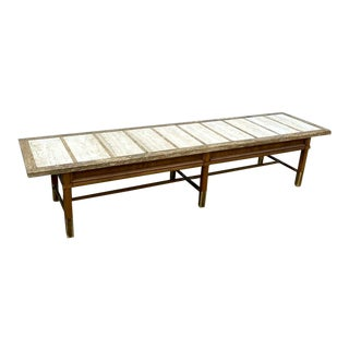 Mid Century Modern Marble Inlay Bench For Sale
