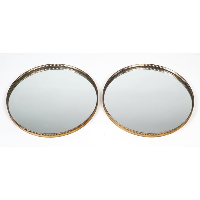 Antique Brass Gallery Round Wall Mirrors For Sale - Image 4 of 10