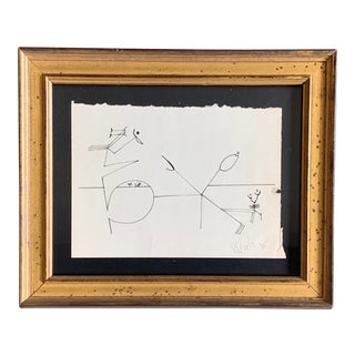 Original Vintage 80's Signed Robert Cooke Abstract Line Drawing For Sale