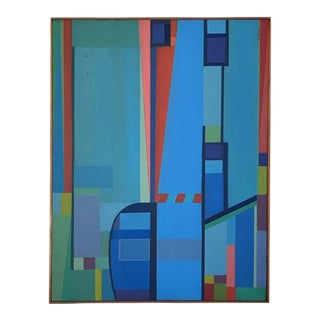 B. Henry Geometric Abstract Acrylic on Canvas 1976