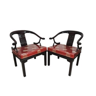 "Vintage Chinese ""Ming Style"" Rosewood Dragon Arm Chairs With Red Brocade Cushions - a Pair Preview"