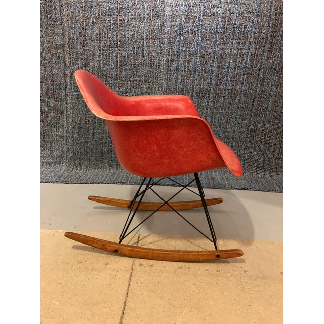 Mid-Century Modern 1960s Eames Orange Fiberglass Rocker For Sale - Image 3 of 8