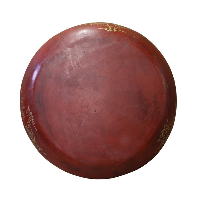 Chinese Red Lacquer Golden Scenery Round Tray Display Art For Sale - Image 5 of 7