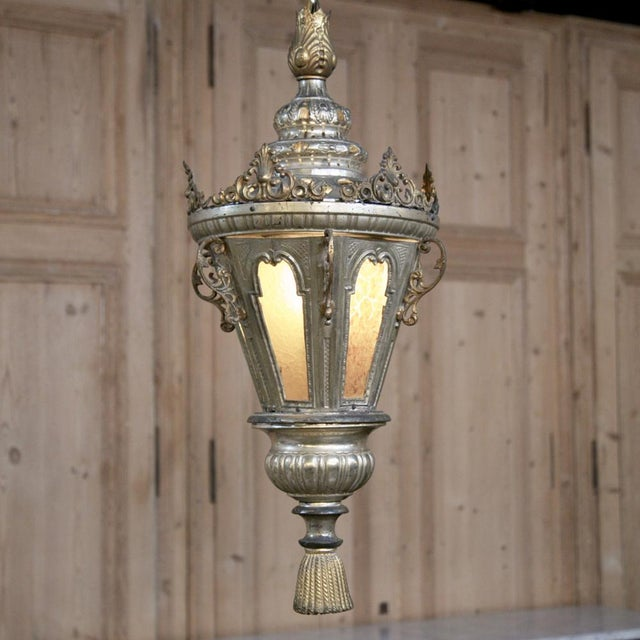 Early 19th Century 19th Century Venetian Silver Plated Brass Lantern Chandelier, Ca. 1850's For Sale - Image 5 of 8